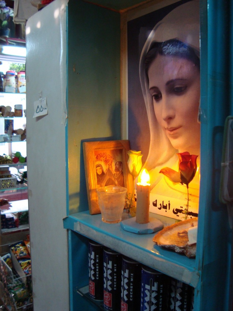 Corner shop with Virgin Mary memorial corner, Beirut