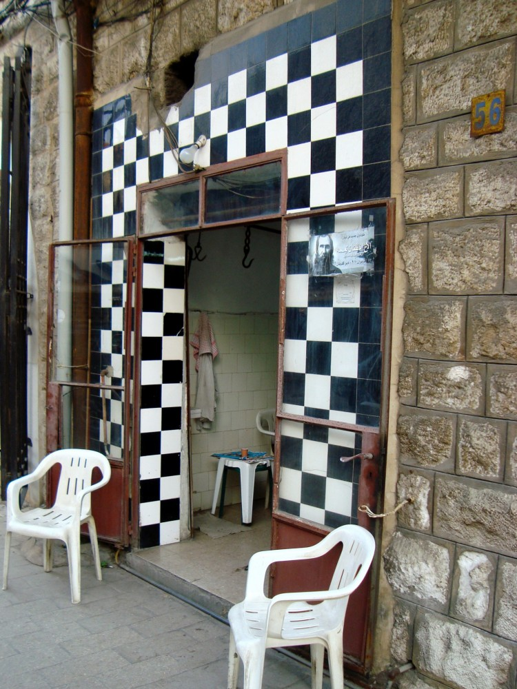 Butcher in Christian town of Jounieh with black and white tile decor