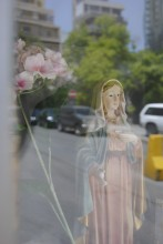 Virgin Mary figure in a street corner shrine in Beyrut