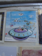 Circumcision (sünnet) greeting card with an ufo
